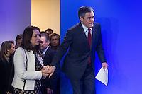 ValÈrie Boyer et Francois Fillon lors de ses voeux destinÈs ‡ la presse et aux parlementaires ‡ son QG de campagne, le 10 janvier 2017 ‡ Paris