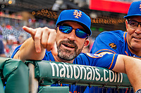 22 September 2018: New York Mets Manager Mickey Callaway looks out from the dugout prior to a game against the Washington Nationals at Nationals Park in Washington, DC. The Nationals shut out the Mets 6-0 in the 3rd game of their 4-game series. Mandatory Credit: Ed Wolfstein Photo *** RAW (NEF) Image File Available ***