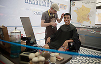 Jarlinson Pantano (COL/IAM) at the barber in the Village Départ before the stage<br /> <br /> Stage 20: Megève › Morzine (146.5km)<br /> 103rd Tour de France 2016