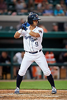 Lakeland Flying Tigers second baseman Anthony Pereira (9) at bat during a game against the Tampa Tarpons on April 5, 2018 at Publix Field at Joker Marchant Stadium in Lakeland, Florida.  Tampa defeated Lakeland 4-2.  (Mike Janes/Four Seam Images)