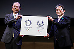 April 25, 2016, Tokyo, Japan - Tokyo 2020 Emblems Selection Committee members Sadaharu Oh (L) and Ryohei Miyata (R) present the winning designs for the Tokyo 2020 Olympic Games and Paralympic Games during an unveiling ceremony on Monday, April 25, 2016. (Photo by AFLO)