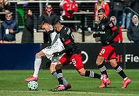 WASHINGTON, DC - FEBRUARY 29: Sam Vines #13 of the Colorado Rapids pulls the ball away from Junior Moreno #5 of DC United during a game between Colorado Rapids and D.C. United at Audi Field on February 29, 2020 in Washington, DC.