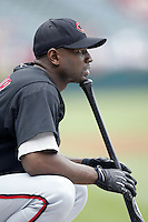 Reggie Taylor of the Cincinnati Reds before a 2002 MLB season game against the Los Angeles Angels at Angel Stadium, in Anaheim, California. (Larry Goren/Four Seam Images)