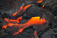 An aerial view of molten lava flowing from Kilauea Volcano, Big Island of Hawai'i.