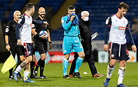 Bolton Wanderers' goalkeeper/coach Matthew Gilks (centre) celebrates victory and a clean sheet<br /> <br /> Photographer Andrew Kearns/CameraSport<br /> <br /> The EFL Sky Bet League Two - Bolton Wanderers v Salford City - Friday 13th November 2020 - University of Bolton Stadium - Bolton<br /> <br /> World Copyright © 2020 CameraSport. All rights reserved. 43 Linden Ave. Countesthorpe. Leicester. England. LE8 5PG - Tel: +44 (0) 116 277 4147 - admin@camerasport.com - www.camerasport.com