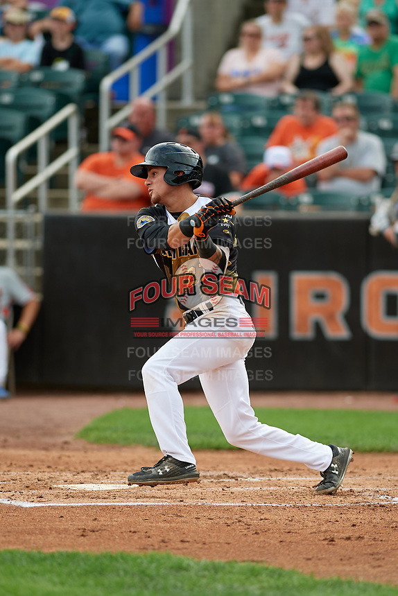Aberdeen IronBirds Joseph Ortiz (27) bats during a NY-Penn League game against the Vermont Lake Monsters on August 18, 2019 at Leidos Field at Ripken Stadium in Aberdeen, Maryland.  Vermont defeated Aberdeen 6-5.  (Mike Janes/Four Seam Images)