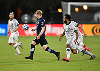 LAKE BUENA VISTA, FL - AUGUST 01: Gary Mackay-Steven #17 of New York City FC moves away from Eryk Williamson #30 of the Portland Timbers with the ball during a game between Portland Timbers and New York City FC at ESPN Wide World of Sports on August 01, 2020 in Lake Buena Vista, Florida.