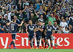 Jai Ingham of the Victory celebrates with teammates after scoring the first goal during the ACL first round match between Melbourne Victory (AUS) and Shanghai SIPG (CHN) played at the Rectangular Stadium in Melbourne on Wednesday 24th February, 2016. Picture: Mark Dadswell/Lagardere Sports