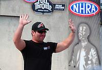 Sept. 25, 2011; Ennis, TX, USA: NHRA top fuel dragster driver Rod Fuller during the Fall Nationals at the Texas Motorplex. Mandatory Credit: Mark J. Rebilas-