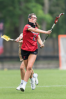 NEWTON, MA - MAY 14: Reagan Bossolina #2 of Fairfield University passes the ball during NCAA Division I Women's Lacrosse Tournament first round game between Fairfield University and Boston College at Newton Campus Lacrosse Field on May 14, 2021 in Newton, Massachusetts.