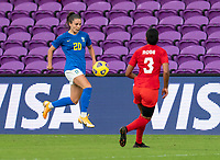 ORLANDO, FL - FEBRUARY 24: Gio #20 of Brazil controls the ball during a game between Brazil and Canada at Exploria Stadium on February 24, 2021 in Orlando, Florida.