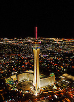 aerial photograph night time Straosphere Hotel Casino Tower, Las Vegas, Clark County, Nevada