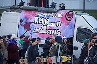 """Rally against fashism at the 13th February 2015 in Dresden.<br /> 2.000 people took place on a march trough Dresden to visit places of interest to explain what happens in the decade of national socialism in Dresden.<br /> Here: A banner """"diversity welcome - no future for nationalism"""".<br /> 13.2.2015, Dresden<br /> Copyright: Christian-Ditsch.de<br /> [Inhaltsveraendernde Manipulation des Fotos nur nach ausdruecklicher Genehmigung des Fotografen. Vereinbarungen ueber Abtretung von Persoenlichkeitsrechten/Model Release der abgebildeten Person/Personen liegen nicht vor. NO MODEL RELEASE! Nur fuer Redaktionelle Zwecke. Don't publish without copyright Christian-Ditsch.de, Veroeffentlichung nur mit Fotografennennung, sowie gegen Honorar, MwSt. und Beleg. Konto: I N G - D i B a, IBAN DE58500105175400192269, BIC INGDDEFFXXX, Kontakt: post@christian-ditsch.de<br /> Bei der Bearbeitung der Dateiinformationen darf die Urheberkennzeichnung in den EXIF- und  IPTC-Daten nicht entfernt werden, diese sind in digitalen Medien nach §95c UrhG rechtlich geschuetzt. Der Urhebervermerk wird gemaess §13 UrhG verlangt.]"""
