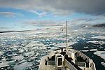 notre bateau fait route vers Nordaustlandet (la terre du Nord-est) en traversant une zone de pack baie Wahlenberg