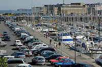 Boats moored at the marina in Saint-Malo, Brittany, France.
