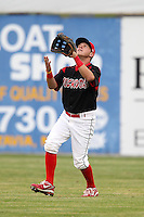 Batavia Muckdogs outfielder Matt Valaika (8) during a game vs. the Mahoning Valley Scrappers at Dwyer Stadium in Batavia, New York August 2, 2010.  Batavia defeated Mahoning Valley 6-3 in 10 innings.  Photo By Mike Janes/Four Seam Images