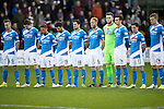 Hearts v St Johnstone…05.11.16  Tynecastle   SPFL<br />The saints players line-up for Remembrance Day<br />Picture by Graeme Hart.<br />Copyright Perthshire Picture Agency<br />Tel: 01738 623350  Mobile: 07990 594431
