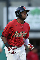 Socrates Brito #19 of the Visalia Rawhide runs to first base during a game against the Stockton Ports at Rawhide Ballpark on May 5, 2014 in Visalia California. Visalia defeated Stockton, 8-6. (Larry Goren/Four Seam Images)