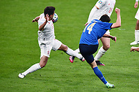 6th July 2021; Wembley Stadium, London, England; Euro 2020 Football Championships semi-final, Italy versus Spain; Federico Chiesa (Ita) shoots and scores for 1-0 in minute 60