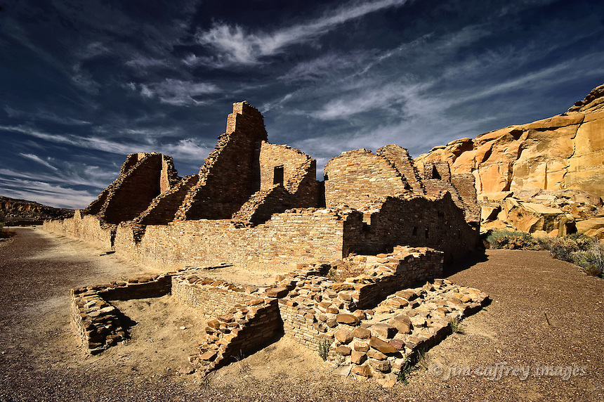 View of the south and eastern walls of Pueblo Bonito in Chaco Canyon National Historical Park in the San Juan Basin of northwestern New Mexico.