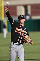 Ryan McMahon (5) of the Modesto Nuts throws before a game against the Lancaster JetHawks at The Hanger on April 25, 2015 in Lancaster, California. Lancaster defeated Modesto, 5-4. (Larry Goren/Four Seam Images)