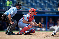 Reading Fightin Phils catcher Austin Bossart (18) waits to receive a pitch in front of home plate umpire Derek Gonzales during the second game of a doubleheader against the Portland Sea Dogs on May 15, 2018 at FirstEnergy Stadium in Reading, Pennsylvania.  Reading defeated Portland 9-8.  (Mike Janes/Four Seam Images)