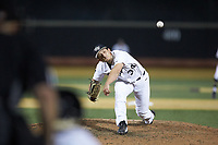 Wake Forest Demon Deacons relief pitcher Bobby Hearn (34) in action against the North Carolina State Wolfpack at David F. Couch Ballpark on April 18, 2019 in  Winston-Salem, North Carolina. The Demon Deacons defeated the Wolfpack 7-3. (Brian Westerholt/Four Seam Images)