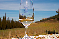 glass marked with AOC Cassis 1936 in front of the vineyard Château Barbanau and Clos Val-Bruyere Cassis Cote d'Azur Var France