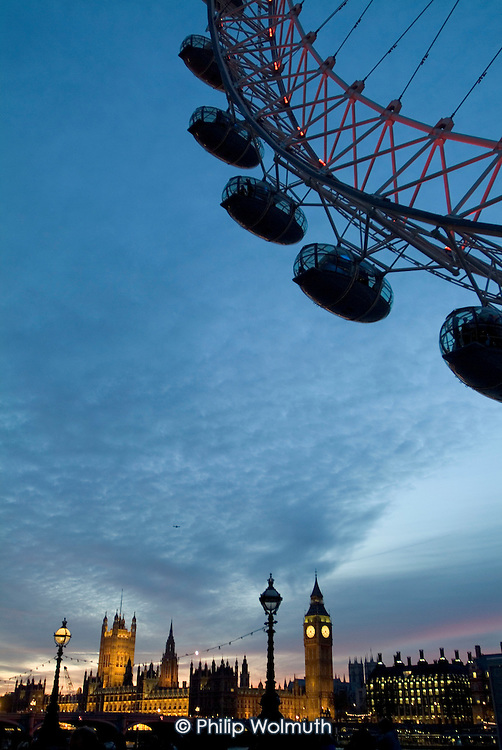 The London Eye, Big Ben and the Houses of Parliament