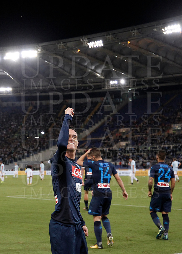 Calcio, Serie A: Roma, stadio Olimpico, 20 settembre 2017.<br /> Napoli's José Maria Callejon celebrates after scoring during the Italian Serie A football match between Lazio and Napoli at Rome's Olympic stadium, September 20, 2017.<br /> UPDATE IMAGES PRESS/Isabella Bonotto