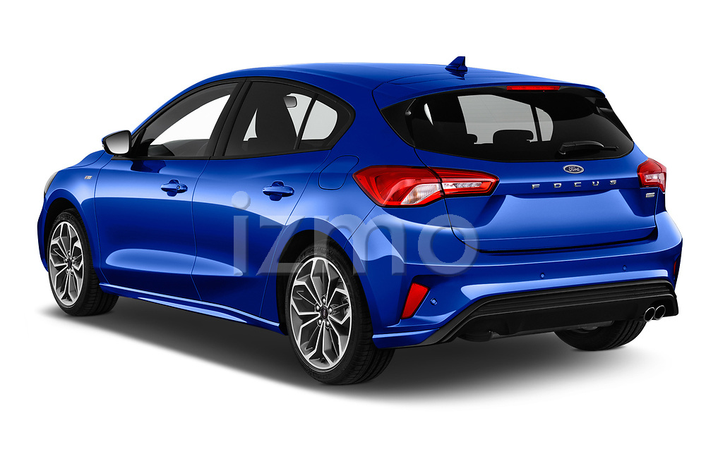 Car pictures of rear three quarter view of a 2018 Ford Focus ST Line Business 4 Door Hatchback angular rear