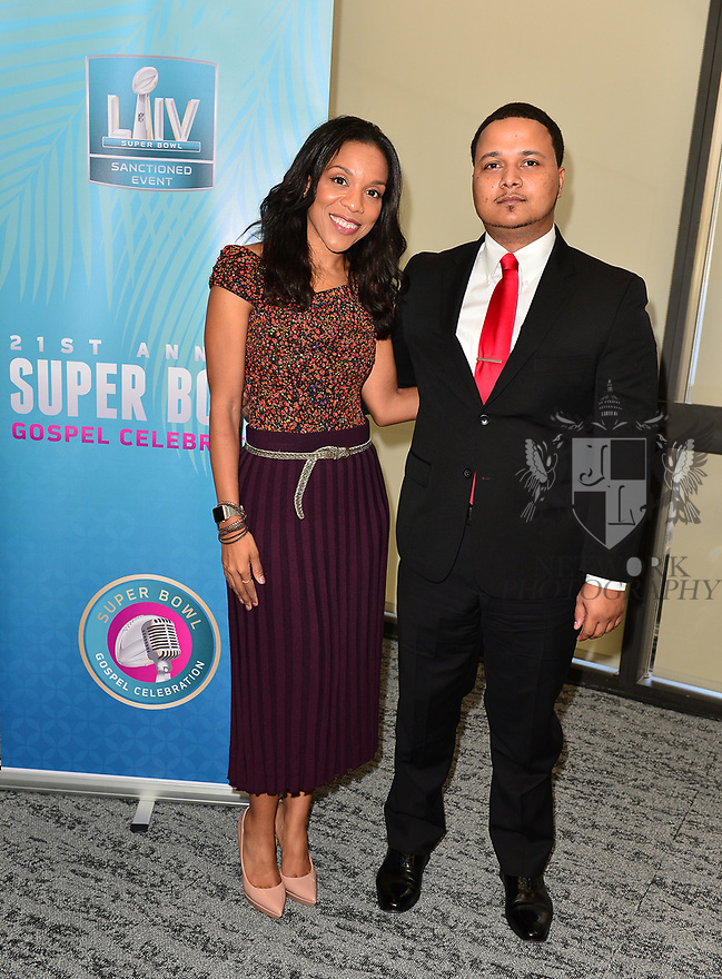 MIAMI, FLORIDA - JANUARY 29: Sheri Barros and CEO of Figgers Wireless Freddie Figgers attend the 21st Annual Super Bowl Gospel Celebration Press Conference at James L Knight Center on January 29, 2020 in Miami, Florida.  ( Photo by Johnny Louis / jlnphotography.com )