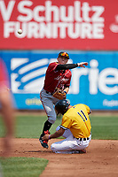 Altoona Curve second baseman Mitchell Tolman (19) throws to first base as Derek Hill (11) slides in during an Eastern League game against the Erie SeaWolves and on June 4, 2019 at UPMC Park in Erie, Pennsylvania.  Altoona defeated Erie 3-0.  (Mike Janes/Four Seam Images)