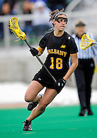 5 April 2008: University at Albany Great Danes' Midfielder Kayla Best, a Sophomore from Guilderland, NY, in action against the University of Vermont Catamounts at Moulton Winder Field, in Burlington, Vermont. With only seconds left in regulation time, the Catamounts rallied to defeat the visiting Danes 11-10 in America East conference play...Mandatory Photo Credit: Ed Wolfstein Photo