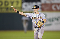 Charleston RiverDogs second baseman Oliver Dunn (8) makes a throw to first base against the Hickory Crawdads at L.P. Frans Stadium on August 10, 2019 in Hickory, North Carolina. The RiverDogs defeated the Crawdads 10-9. (Brian Westerholt/Four Seam Images)