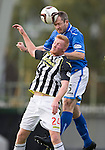 St Mirren v St Johnstone...19.10.13      SPFL<br /> Frazer Wright gets above Connor Newton<br /> Picture by Graeme Hart.<br /> Copyright Perthshire Picture Agency<br /> Tel: 01738 623350  Mobile: 07990 594431
