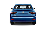 Straight rear view of a 2019 Volkswagen Jetta S 4 Door Sedan stock images