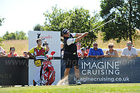 Brendan O'Carroll tees off from the 5th during the Bulmers 2018 Celebrity Cup at the Celtic Manor Resort. Newport, Gwent,  Wales, on Saturday 30th June 2018<br /> <br /> <br /> Jeff Thomas Photography -  www.jaypics.photoshelter.com - <br /> e-mail swansea1001@hotmail.co.uk -<br /> Mob: 07837 386244 -