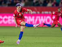 CARSON, CA - FEBRUARY 7: Megan Rapinoe #15 of the United States takes a shot during a game between Mexico and USWNT at Dignity Health Sports Park on February 7, 2020 in Carson, California.