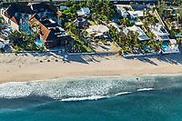 France, île de la Réunion, Saint-Paul, la plage du lagon, vue aérienne // France, Reunion island (overseas department), Saint Paul, beach of  lagoon,   aerial view