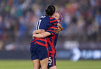 EAST HARTFORD, CT - JULY 1: Christen Press #11 of the USWNT celebrates a goal with Megan Rapinoe #15 during a game between Mexico and USWNT at Rentschler Field on July 1, 2021 in East Hartford, Connecticut.