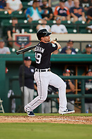 Detroit Tigers second baseman Gordon Beckham (29) follows through on a swing during a Grapefruit League Spring Training game against the New York Yankees on February 27, 2019 at Publix Field at Joker Marchant Stadium in Lakeland, Florida.  Yankees defeated the Tigers 10-4 as the game was called after the sixth inning due to rain.  (Mike Janes/Four Seam Images)