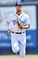 Asheville Tourists right fielder Niko Decolati (19) during a game against the West Virginia Power at McCormick Field on June 2, 2019 in Asheville, North Carolina. The  Power defeated the Tourists 5-4. (Tony Farlow/Four Seam Images)