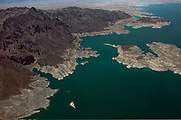 aerial photograph of drought conditions, Overton Arm of Lake Mead, Nevada just south of the Echo Bay boat launch
