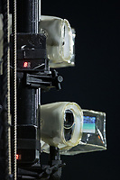 Video cameras are a valuable tool being used by most minor league teams, such as these in use during the Appalachian League game between the Danville Braves and the Burlington Royals at Burlington Athletic Stadium on August 12, 2017 in Burlington, North Carolina.  The Braves defeated the Royals 5-3.  (Brian Westerholt/Four Seam Images)