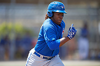 Toronto Blue Jays third baseman Vladimir Guerrero Jr. (6) runs to first base during a minor league Spring Training game against the New York Yankees on March 30, 2017 at the Englebert Complex in Dunedin, Florida.  (Mike Janes/Four Seam Images)