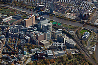 aerial photograph of the University of Pennsylvania campus, University City, Pennsylvania in the fall