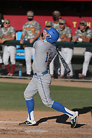 Kyle Cuellar (18) of the UCLA Bruins bats during a game against the USC Trojans at Dedeaux Field on March 28, 2021 in Los Angeles, California. UCLA defeated USC, 13-1. (Larry Goren/Four Seam Images)