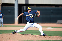 Milwaukee Brewers relief pitcher Brady Schanuel (61) delivers a pitch during an Instructional League game against the Los Angeles Dodgers at Maryvale Baseball Park on September 24, 2018 in Phoenix, Arizona. (Zachary Lucy/Four Seam Images)