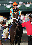 My Conquestadory and jockey Eurico Da Silva win the 62nd running of the Darley Alcibiades Grade 1 $400,000 for trainer Mark Casse and owner Conquest Stables at Keeneland Race Course.  October 4, 2013.